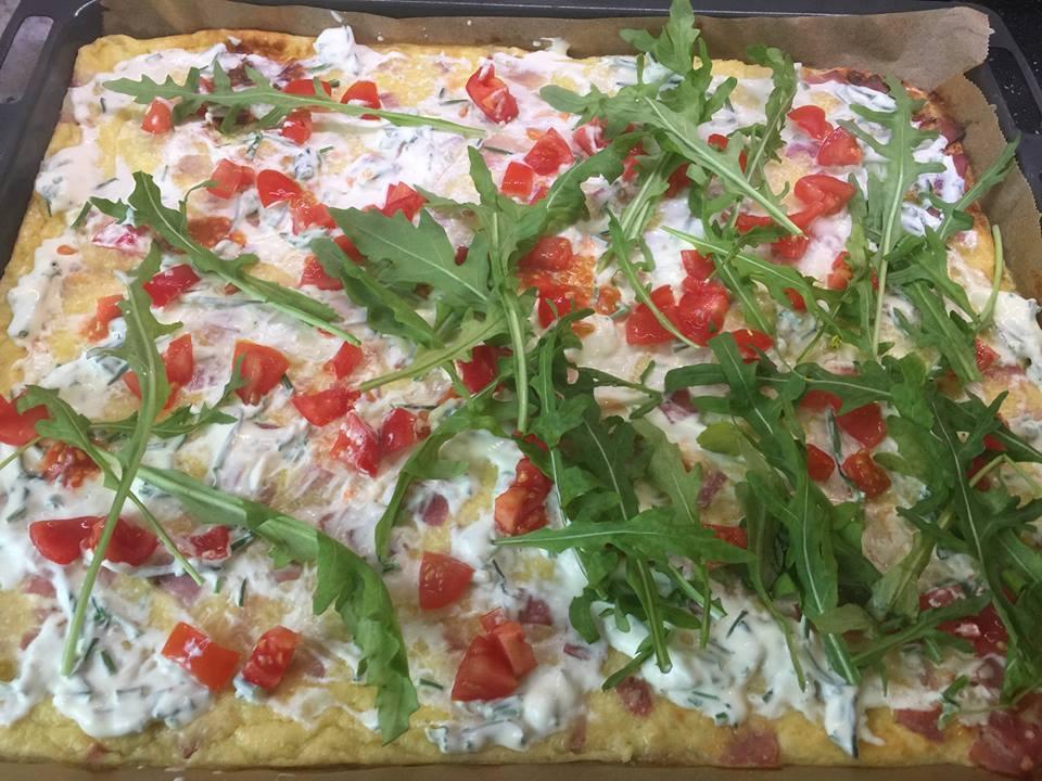 Pfannkuchen mit Schinken/Käse/Tomate - fast fettfrei -