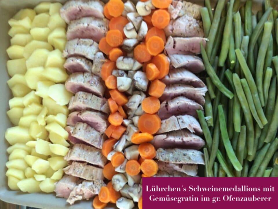 Lührchen´s Schweinemedallions mit Gemüsegratin im gr. Ofenzauberer