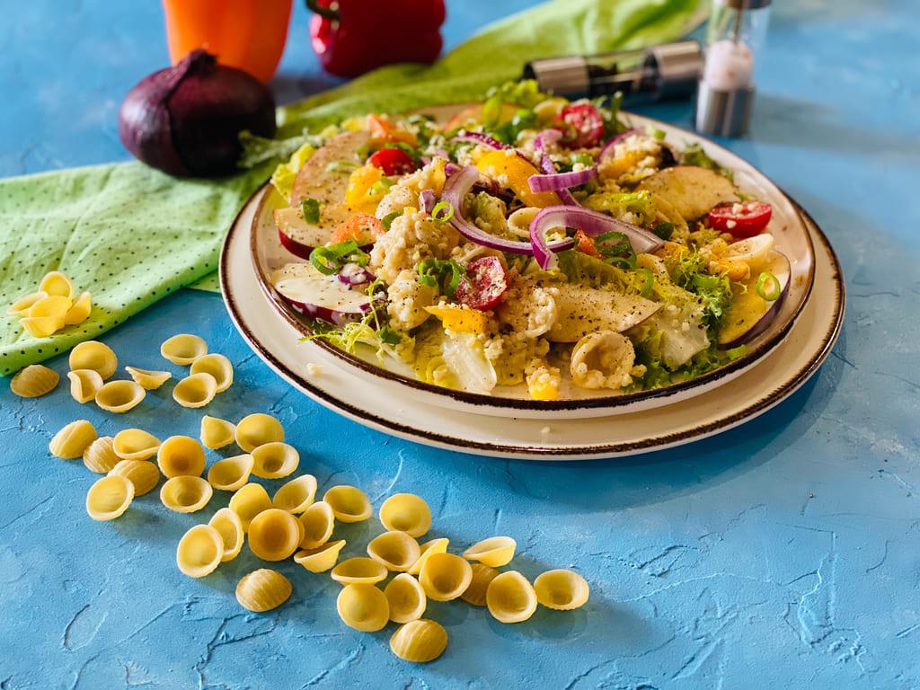 Orecchiette Salat mit Apfel und Bulgur